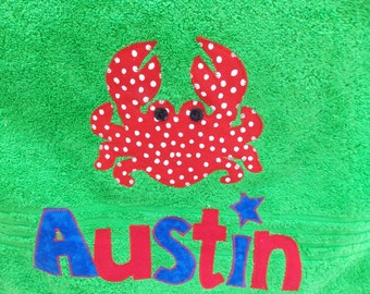 Personalized Towel- applique name- custom towel-crab towel-great for beach, bath, Birthday Gifts, Daycare