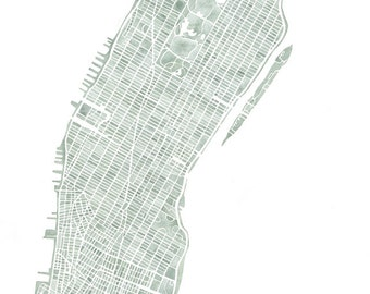 Manhattan NYC seaglass Map watercolor map print 14x11 and 16x12