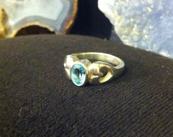 Price drop!! Sterling silver oval blue topaz heart