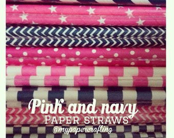 25 Navy blue and pink paper straws for wedding decoration/ pack