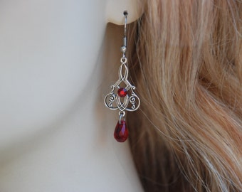Earrings Ruby Red