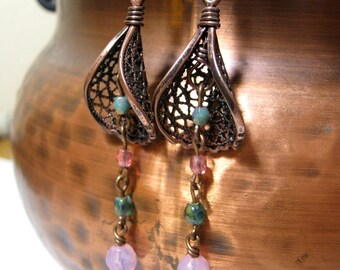 Lily Earrings Copper Wraps with Pink and Blue Czech GLass Beads