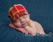Red plaid cap for newborn boys photo prop - Ready To Ship