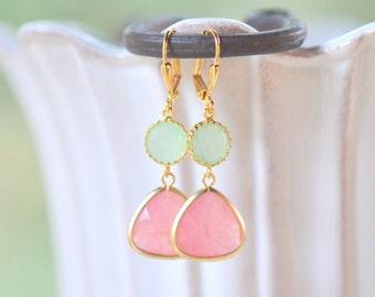 Coral Pink Teardrop and Mint Dangle Earrings in Gold. Earrings. Drop Earrings. Coral Dangle Bridesmaid Earrings.