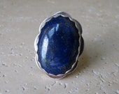 Lapis Lazuli Ring, Sterling Silver Jewelry One of a Kind Handmade