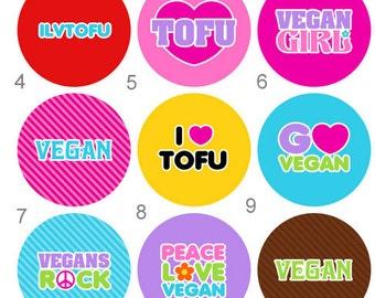 Vegan Vegetarian Pinback Button or Magnet 2 1/4 inch