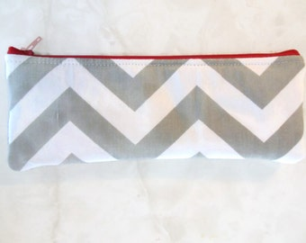 Chevron long zipper Pencil Case-Gray and white