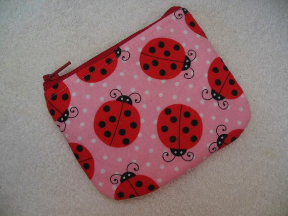 Ladybugs Small zipper coin pouch
