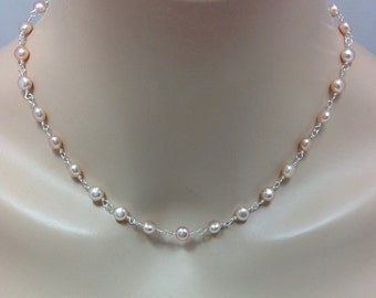 Blush Freshwater Pearl Bridal Bridesmaid Necklace, The Laney
