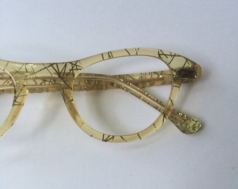 Vintage 1950s Glasses, Atomic Glasses, Yellow Amber with Gold Foil