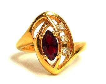 Ruby Crystal Ring Womens 7 Ruby Red 18K Gold Plate Marquis cut Rhinestones July/January Birthstone Cocktails Vintage Modern Fashion SALE