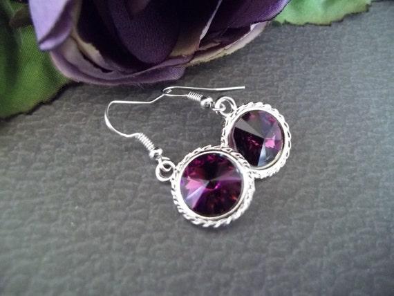 15% OFF SALE,Amethyst Earrings,Bridesmaid Earrings,Swarovski Earrings,February Birthstone,Bridesmaid Jewelry,Purple Bridesmaid Jewelry