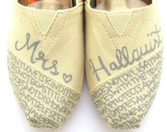 The Hallquist - Gray and Cream Custom Wedding TOMS