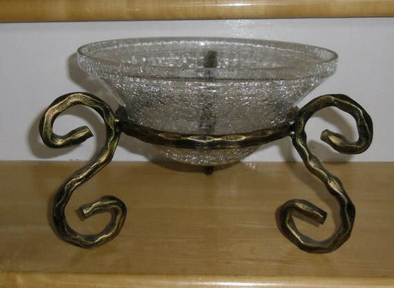 Vintage bowl glass on stand crackle heavy
