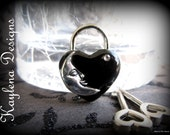 Over the Moon,  Small Heart Lock, working lock, lock and key  Love Lock