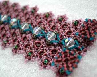 """Wide over 2"""" Dusty Rose and Purple Seeds Beads Beadwoven Cuff Bracelet"""