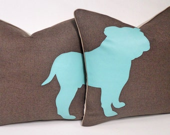 Blue And Brown Bull Dog Pillows 16 X 16 Inch