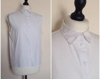 vintage 1990s white sleeveless cotton tailored shirt. UK 10-12