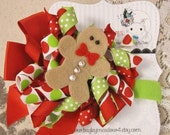 Christmas Gingerbread Man Holiday Korker Bow Clip Headband