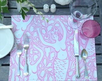 Modern Mermaid Print Linen Placemat, Original Design Nadine Westcott Seaside decor, Choice of Color, Whimsical Handmade on Nantucket