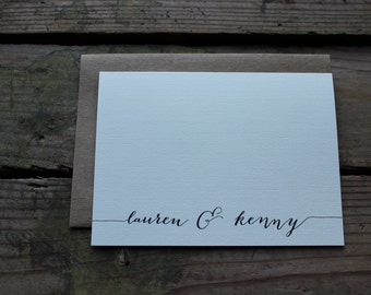 First Name Thank You Cards with Envelopes / Chic / Simple / Wedding, Shower, Any Occasion Stationery / Set of 10