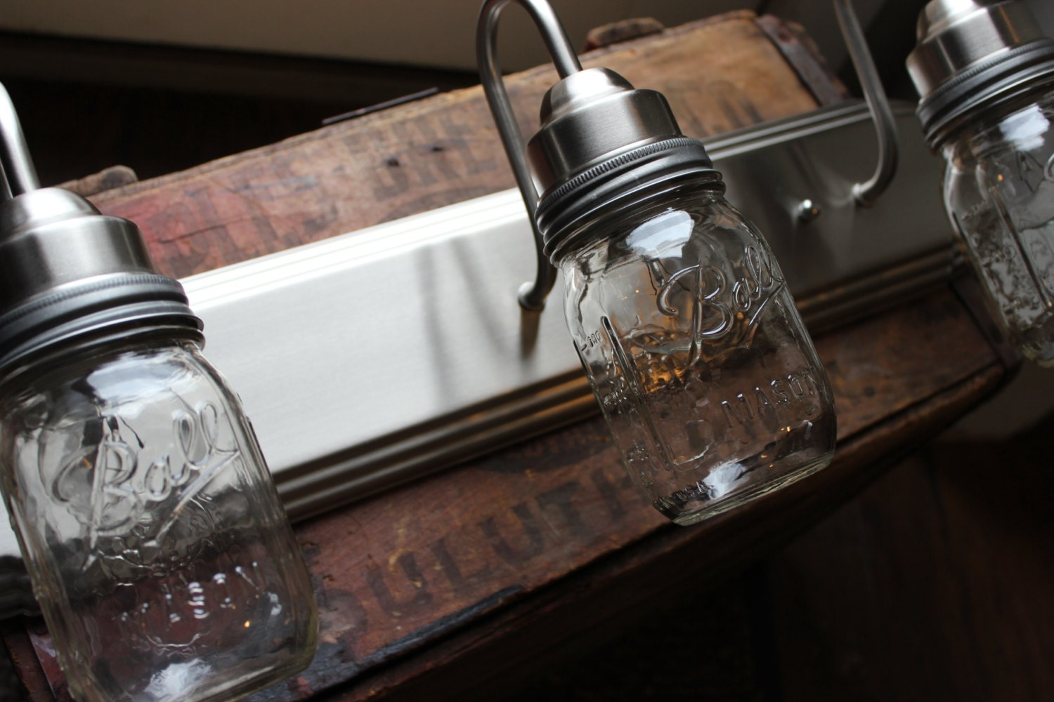 Mason Jar Vanity Lights : Mason Jar Vanity Light // Brushed Nickel // Rustic Decor