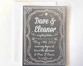 Letterpress Style Wedding Invitation With Rustic Decorative Border