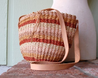 Vintage Colorful Woven Tweed Purse Shoulder Bag Pouch Tote Hobo Bag Rust Brown Pink Twine Sack Grocery Bag Leather Strap Beach Bag Natural