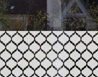 Moroccan Window Privacy Film Quatrefoil Window Decal Customizable Moroccan Privacy Window Treatment Etched Glass Film Frosted Glass Decal