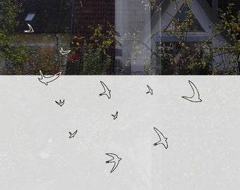 Flying Bird Window Film, Decorative Window Privacy Film with Swallows, Customizable Privacy Film with Birds, Minimal Privacy Film Bathroom