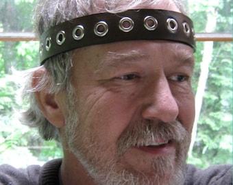 Cosplay Headband Eyelets Leather Headband SCA Fantasy Headband Medieval Crown Barbarian Headband