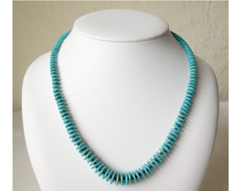 """Vintage Navajo 28"""" Turquoise Rondelle Disk Graduated Bead Necklace"""