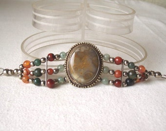 "Vintage Agate and Semi Precious Stone Bead Bracelet 6 3/4"""