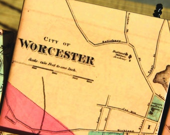 Worcester Massachusetts Map Coasters
