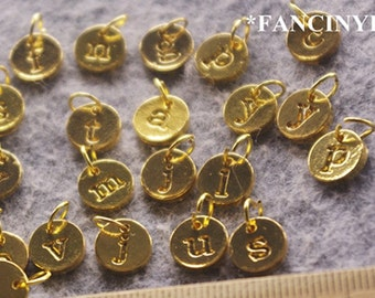 Jump rings included-whole set-26 pcs-what is your initial letter-stamped alphabet charms-F909
