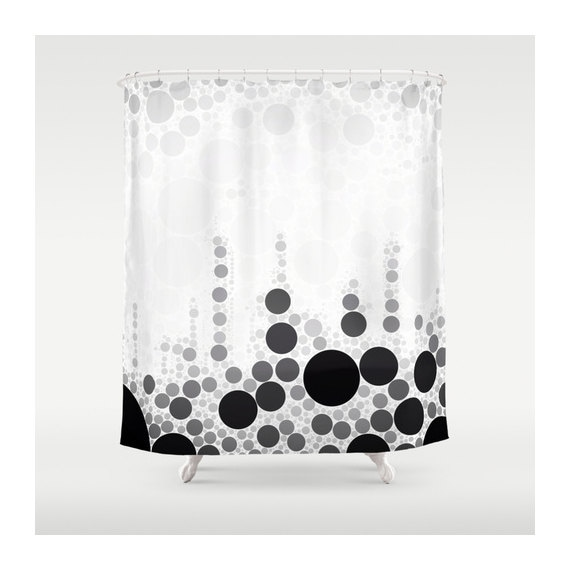 bw abstract circle art shower curtain by vqstudio on etsy