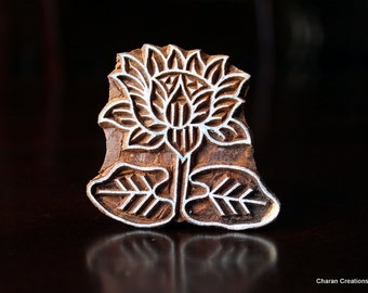 ON SALE Hand Carved Antique Indian Pear Wood Block Stamp- Lotus