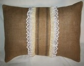 "Vintage Natural  Burlap 14x20 Pillow Cover Lumbar Decorated 3- 1/2'' Wired Natural Burlap Stripe Edge Ribbon and  11/2""  White  Lace Ruffles"