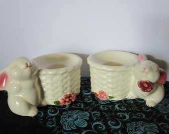 Vintage Avon Porcelain Candle Holders--Rabbits exchanging flowers near basket, 1980s