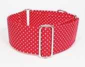 Martingale Collar, White Polka Dots on Red, Sighthound Collar, Galgo Collar, Greyhound Martingale, Hound Collar, Whippet Collar