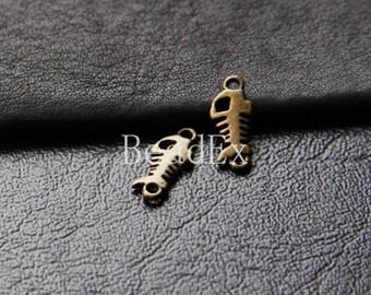 80 Pieces / Fish Bone / Antique Brass / Base Metal / Charm (YB133//P78)