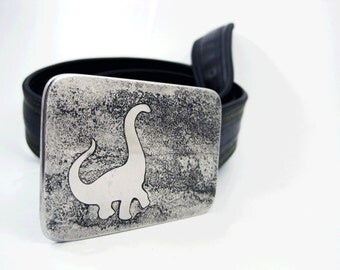Bronto Belt Buckle - Etched Stainless Steel - Handmade