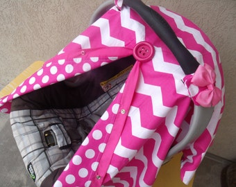 Carseat Canopy Chevron Pretty in Pink REVERSIBLE
