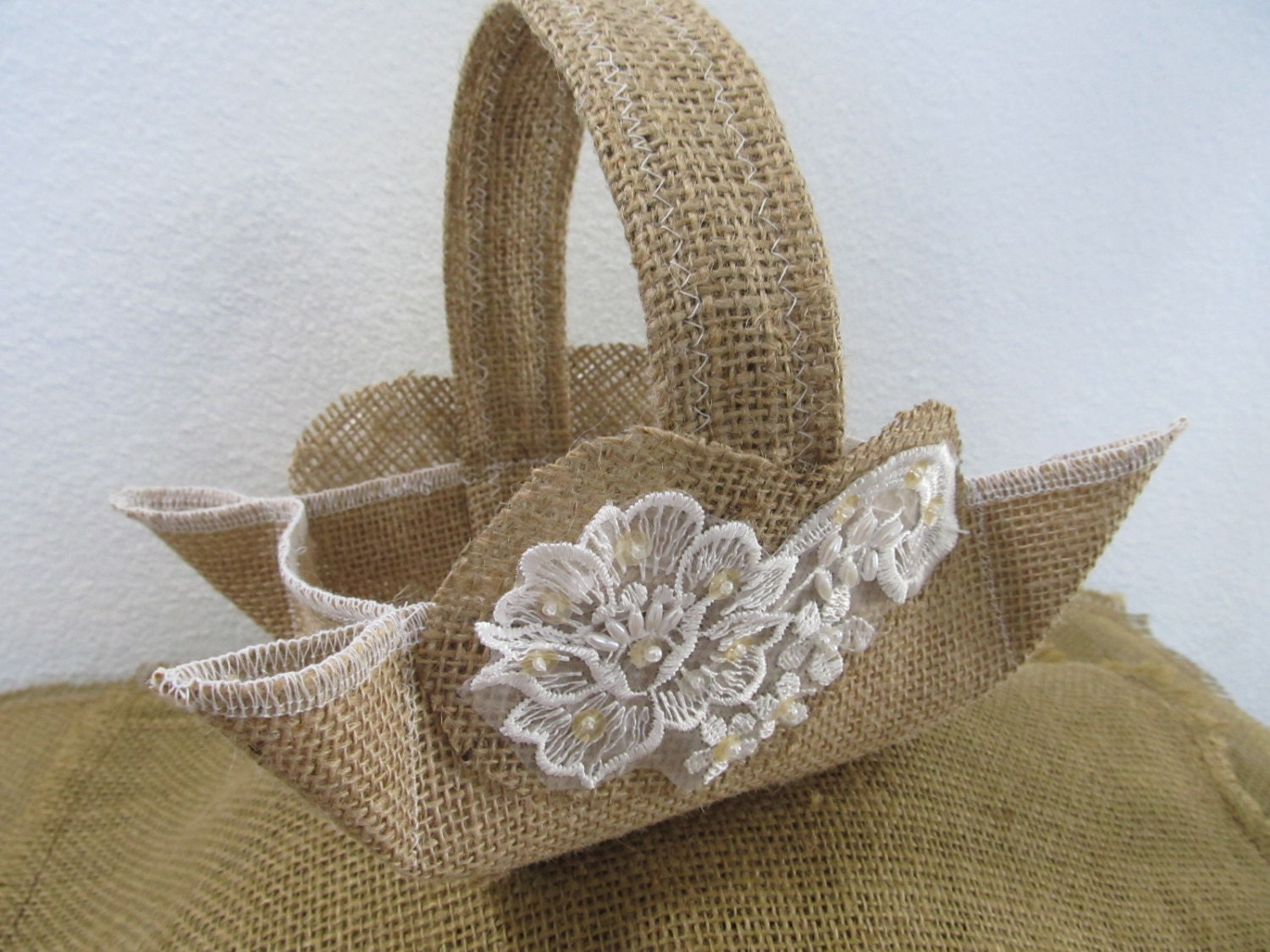 Flower Girl Baskets Burlap : Sweet natural burlap and lace flower girl basket by
