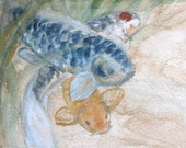 Koi Fish Water Garden// Coffee and watercolor painting
