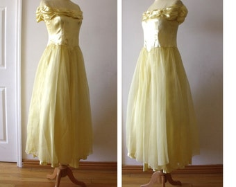 SALE  ROSINA Sheer Illusion Yellow Party Dress - 50's Prom Dress
