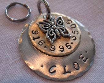 Pet ID Tag with Butterfly Charm