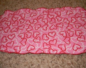Pink, White, and Red Heart Burp Cloth