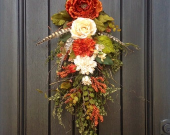 Fall Wreath Teardrop Door Twig Swag Vertical Decor-Use all Year Round-Floral Swag Orange Cream Artificial Florals Indoor Outdoor Decoration