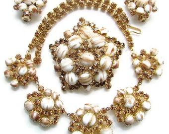 Juliana DeLizza & Elster Parure Gold Fluss Brooch Earrings Fabulous